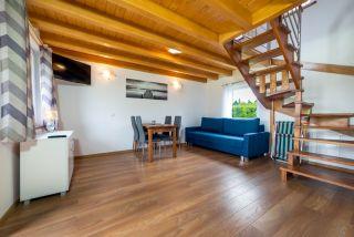 Domki JASNA POLANA Jastrzębia Góra Salon w domku drewnianym