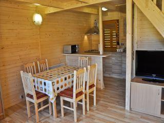 Ośrodek Wypoczynkowy Oliwia  Dźwirzyno TV LCD 32 cale FULLHD Telewizja naziemna DTV i dodatkowo kanały satelitarne dla dzieci kanapa 2-osobowa stół z 6 krzesłami szafa + wieszaki parawan 8 m, 4 krzesła plażowe, suszarka + klamerki, szufelka + miotełka koc plażowy ogrzewanie elektryczne domku